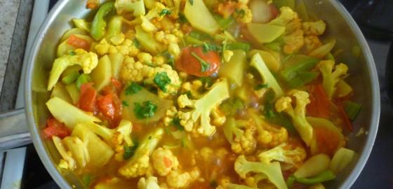 Peppers and Cauliflower Bhaji