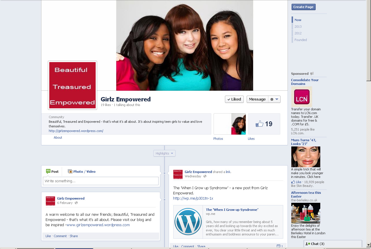 Facebook page for Girlz Empowered